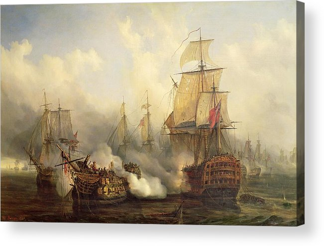 The Acrylic Print featuring the painting Unknown Title Sea Battle by Auguste Etienne Francois Mayer