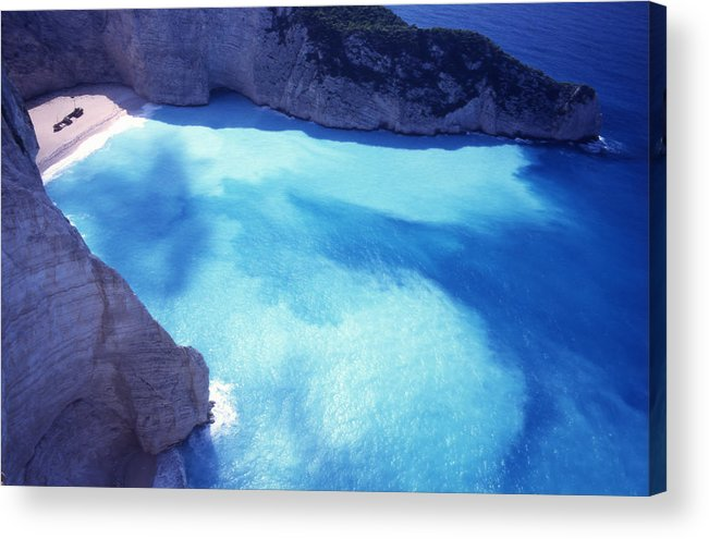 Bay; Beach; Day; Europe; Greece; Ionian Acrylic Print featuring the photograph The Shipwreck by Steve Outram