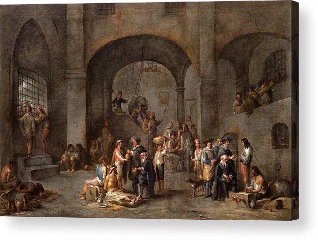 Cornelis De Wael Acrylic Print featuring the painting To Visit The Imprisoned by Cornelis de Wael