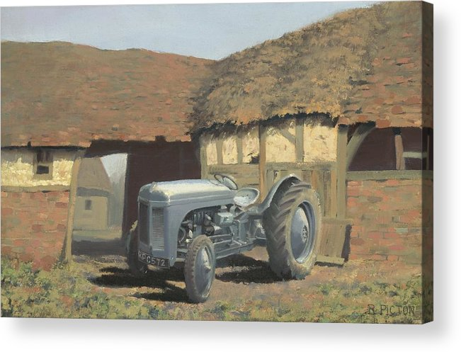 Tractor Acrylic Print featuring the painting Tractor And Barn by Richard Picton