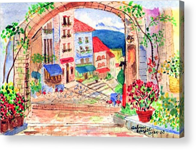 Tuscan Archway Acrylic Print featuring the painting Tuscan Archway II by Arlene Wright-Correll