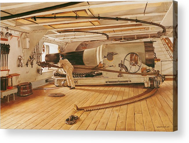 Twenty-seven Acrylic Print featuring the painting Twenty-seven Pound Cannon On A Battleship by Gustave Bourgain