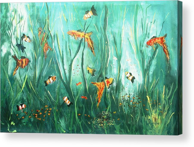 Under The Sea Fish Tank Salt Water Fish Ocean Dancing Fish Swimming Water Seaweed Acrylic Print featuring the painting under the sea I by Miroslaw Chelchowski