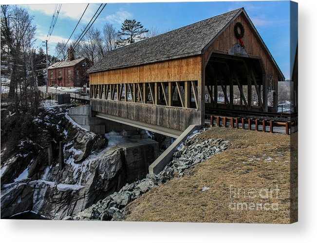 New England Acrylic Print featuring the photograph Vermont Covered Bridge by Joe Faragalli