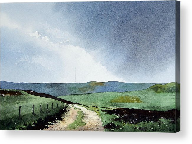 Landscape Acrylic Print featuring the painting View Over Pole Moor by Paul Dene Marlor
