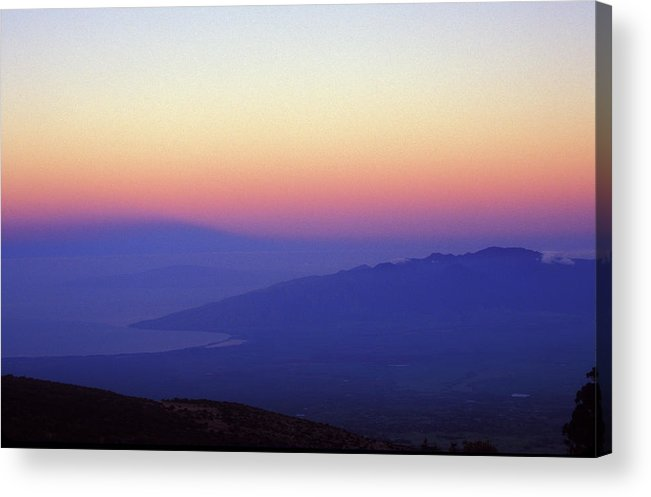 Hawaii Acrylic Print featuring the photograph West Maui At Dawn From Haleakala by John Burk
