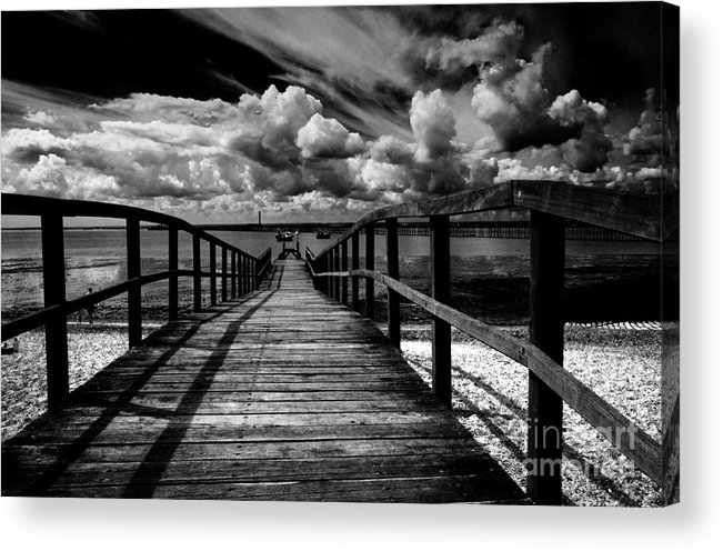 Southend On Sea Wharf Clouds Beach Sand Acrylic Print featuring the photograph Wharf At Southend On Sea by Sheila Smart Fine Art Photography