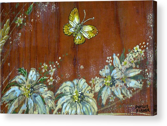 Wildflowers Acrylic Print featuring the painting Wheat 'n' Wildflowers IIi by Phyllis Mae Richardson Fisher