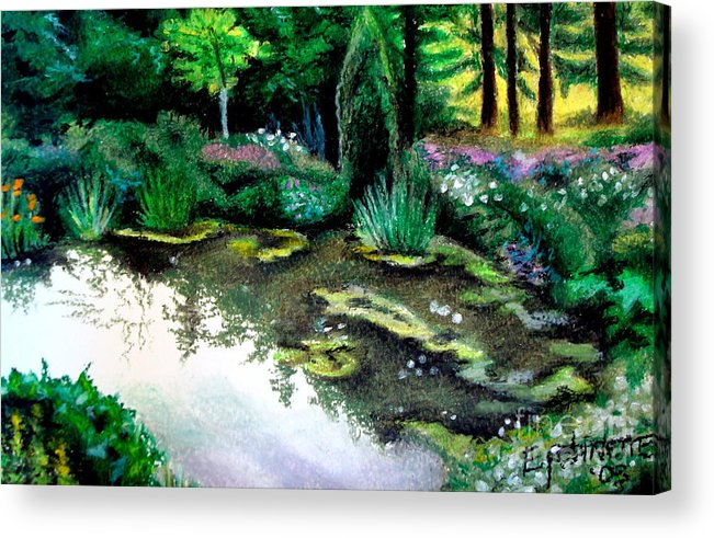 Landscape Acrylic Print featuring the pastel Woodland Mystery by Elizabeth Robinette Tyndall