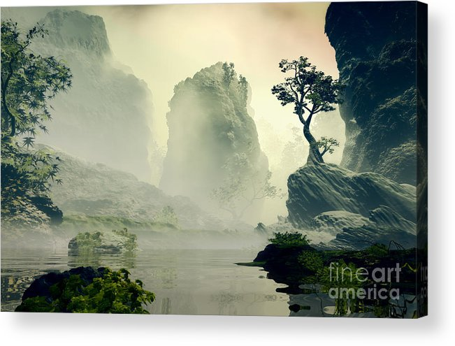 Forest Acrylic Print featuring the digital art 3d Illustration Of Landscape With Fancy 2 by Estevez