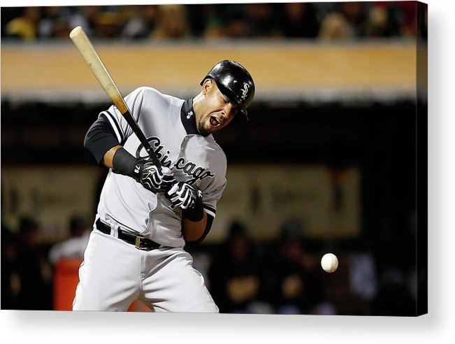 Three Quarter Length Acrylic Print featuring the photograph Chicago White Sox V Oakland Athletics 3 by Ezra Shaw