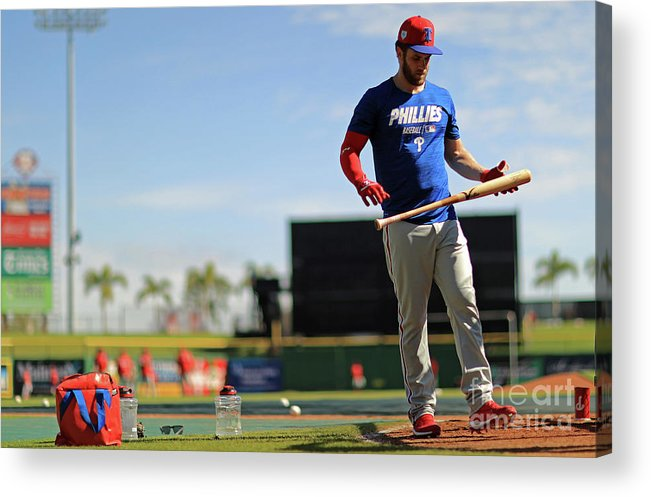 Working Acrylic Print featuring the photograph Philadelphia Phillies Bryce Harper 3 by Mike Ehrmann