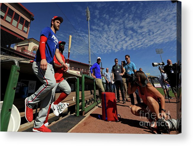 Working Acrylic Print featuring the photograph Philadelphia Phillies Bryce Harper 4 by Mike Ehrmann