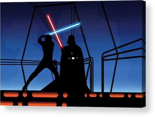 Darth Vader Acrylic Print featuring the digital art Bespin Duel by Nathan Shegrud