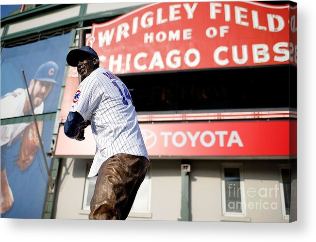 American League Baseball Acrylic Print featuring the photograph Chicago Cubs Fans Watch Wild Card Game by Jon Durr