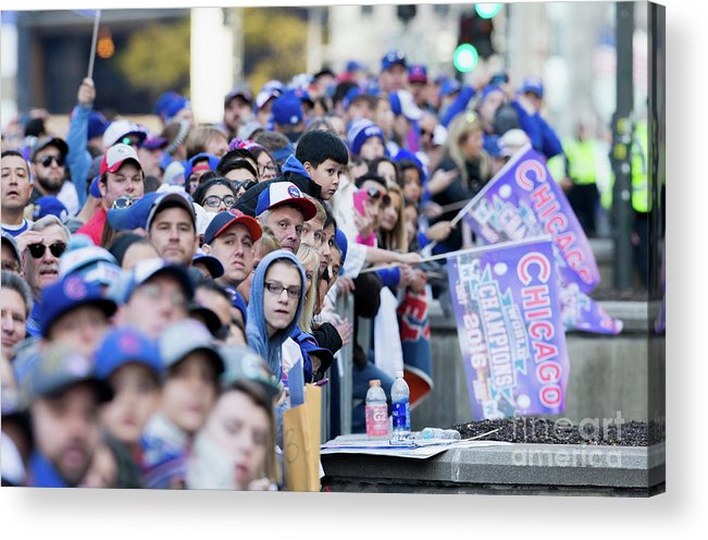 American League Baseball Acrylic Print featuring the photograph Chicago Cubs Victory Celebration by Tasos Katopodis