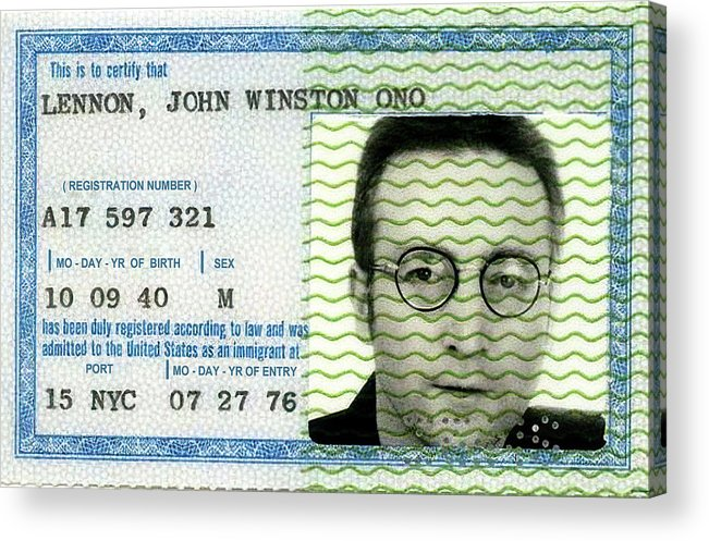 Green Card Acrylic Print featuring the photograph John Lennon Immigration Green Card 1976 by Daniel Hagerman