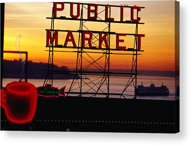 Ferry Acrylic Print featuring the photograph Pike Place Market Sign, Seattle by Lonely Planet
