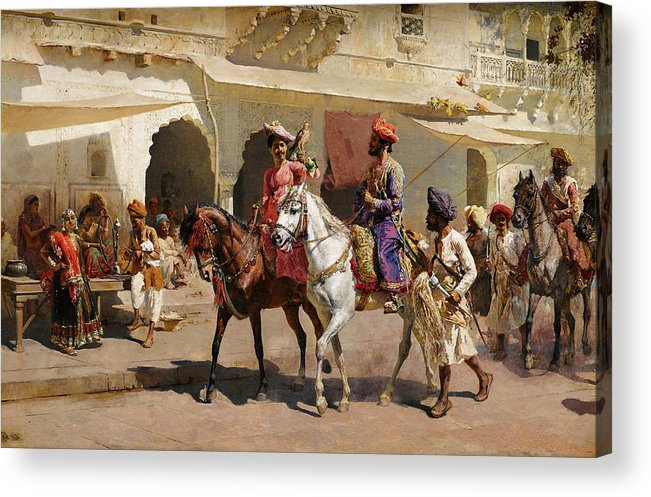 Start Acrylic Print featuring the painting Start For The Hunt At Gwalior by Edwin Lord Weeks