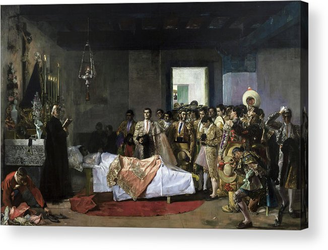 Jose Villegas Cordero Acrylic Print featuring the painting The Death Of The Bullfighter by Jose Villegas Cordero