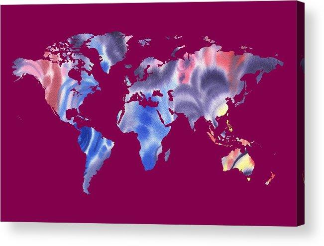 Purple Acrylic Print featuring the painting Watercolor Silhouette World Map Png IIi by Irina Sztukowski