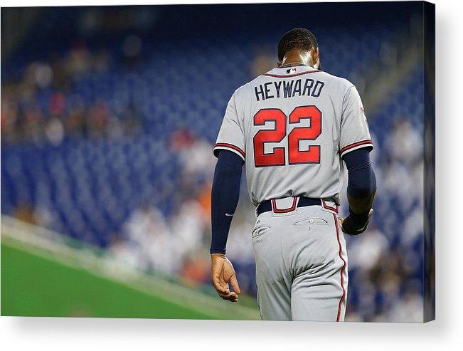 American League Baseball Acrylic Print featuring the photograph Jason Heyward by Mike Ehrmann
