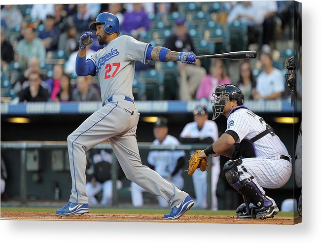 Los Angeles Dodgers Acrylic Print featuring the photograph Los Angeles Dodgers V Colorado Rockies by Doug Pensinger