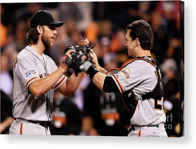 Pnc Park Acrylic Print featuring the photograph Madison Bumgarner And Buster Posey by Jason Miller