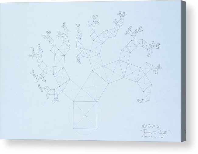 Fractal Tree Acrylic Print featuring the drawing Quantum Tree by Jason Padgett