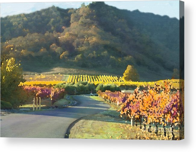 Corde Valle San Martin Ca Acrylic Print featuring the painting The Hills Of Clos La Chance Winery by Artist and Photographer Laura Wrede