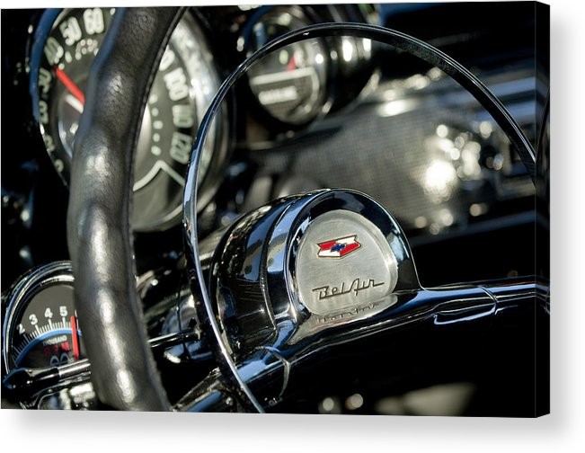 1957 Chevrolet Belair Acrylic Print featuring the photograph 1957 Chevrolet Belair Steering Wheel by Jill Reger