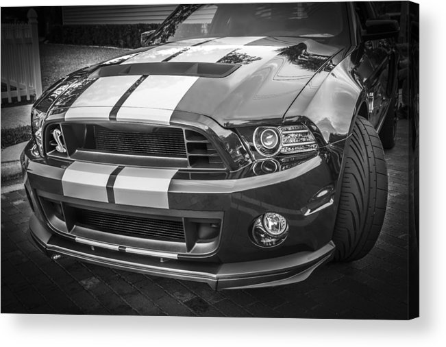2013 Ford Mustang Acrylic Print featuring the photograph 2013 Ford Mustang Shelby Gt 500 Bw by Rich Franco