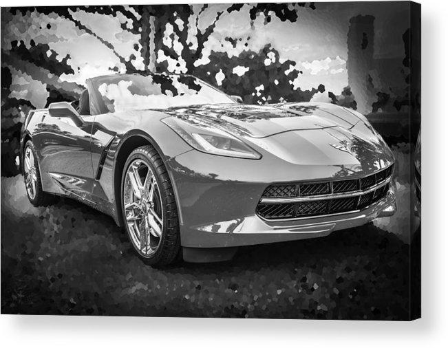 2014 Chevrolet Corvette Acrylic Print featuring the photograph 2014 Chevrolet Corvette C7 Bw  by Rich Franco