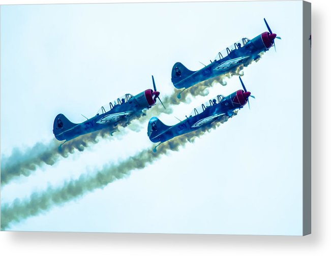Patriotic Acrylic Print featuring the photograph Action In The Sky During An Airshow by Alex Grichenko