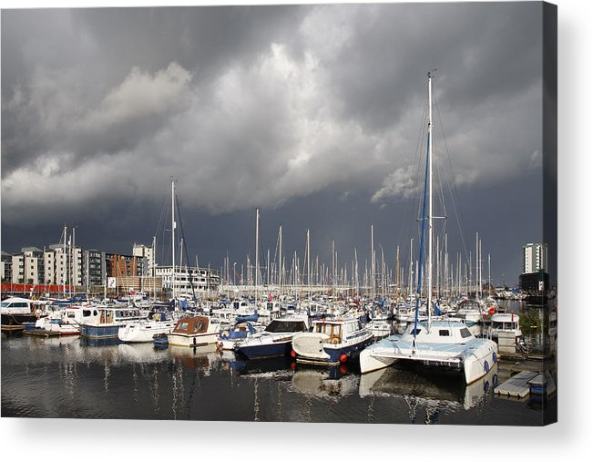Anchored Acrylic Print featuring the photograph Boats In A Marina by Steve Ball