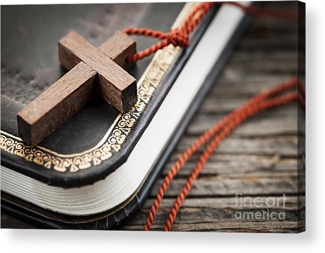 Cross Acrylic Print featuring the photograph Cross On Bible by Elena Elisseeva