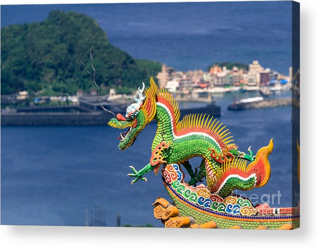 Ancient Acrylic Print featuring the photograph Dragon Sculpture On Roof by Tosporn Preede