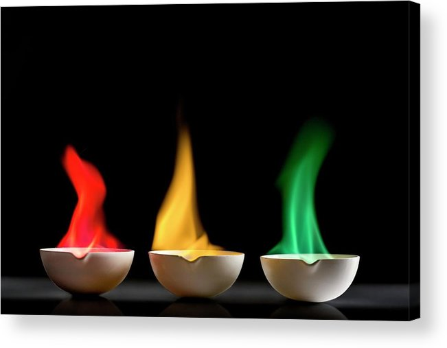 Chemical Acrylic Print featuring the photograph Flame Tests by Science Photo Library