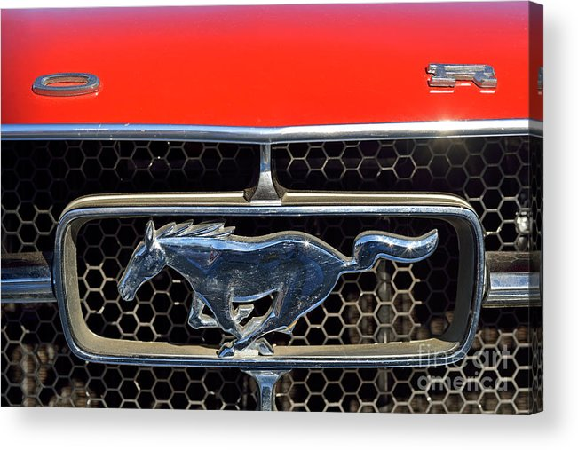 Ford Acrylic Print featuring the photograph Ford Mustang Badge by George Atsametakis