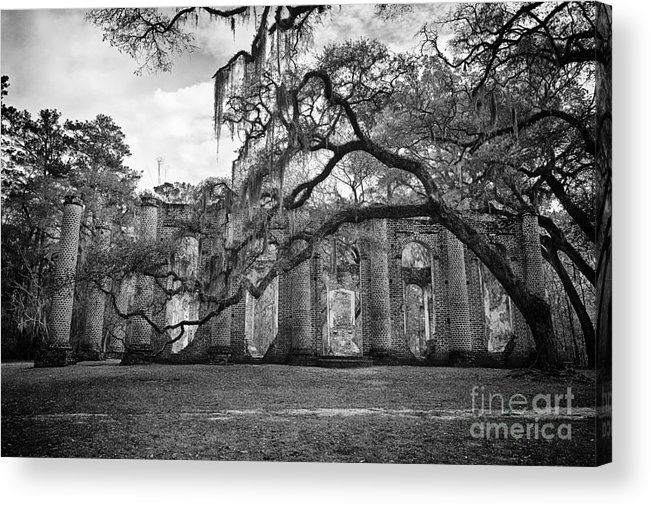 Old Sheldon Church Acrylic Print featuring the photograph Historic Sheldon Church 4 Bw by Carrie Cranwill