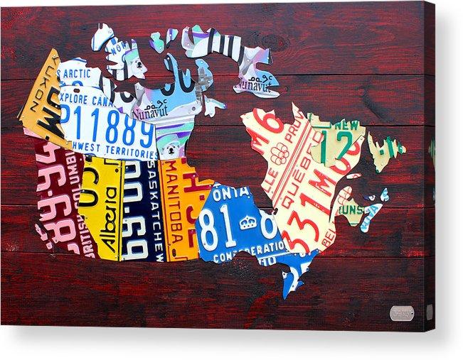 License Plate Map Of Canada Ontario Quebec Toronto Alberta Saskatchewan Manitoba Nunavut Northwest Territories Yukon New Brunswick Newfoundland Labrador Nova Scotia Prince Edward Island Pei Calgary Edmonton Vancouver Whitehorse Yellowknife Moncton Halifax Windsor Regina Winnipeg Acrylic Print featuring the mixed media License Plate Map Of Canada by Design Turnpike