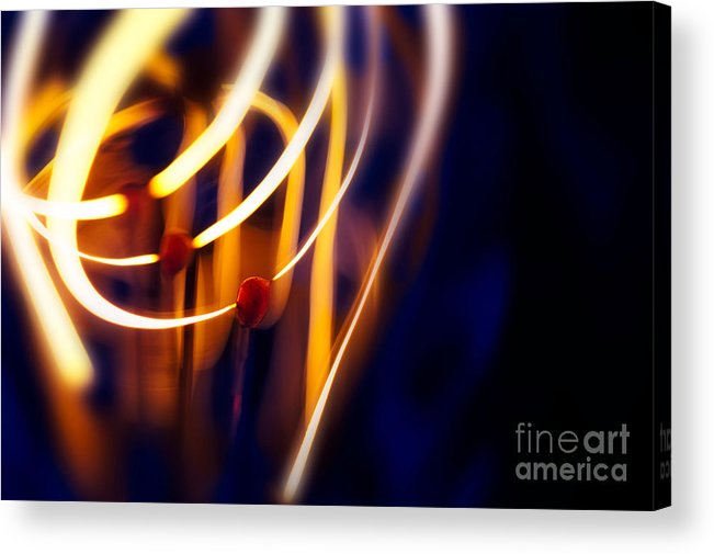 Abstract Acrylic Print featuring the photograph Light Bulb Filament by Mark Fearon