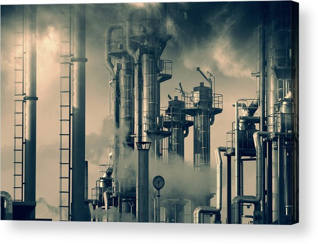 Oil Acrylic Print featuring the photograph Oil And Gas Power Industry by Christian Lagereek