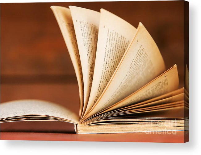 Article Acrylic Print featuring the photograph Open Book In Retro Style by Michal Bednarek