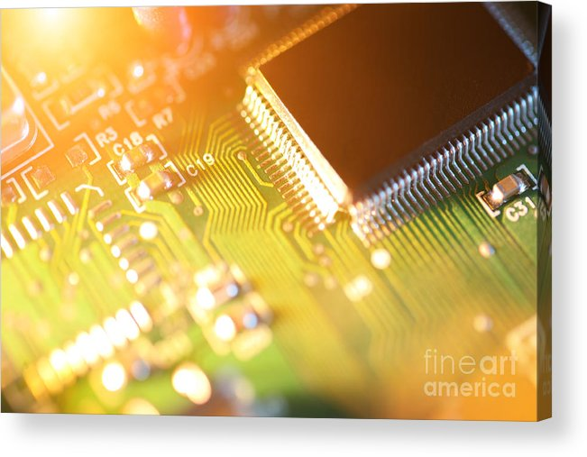 Circuit Acrylic Print featuring the photograph Processor Chip On Circuit Board by Konstantin Sutyagin