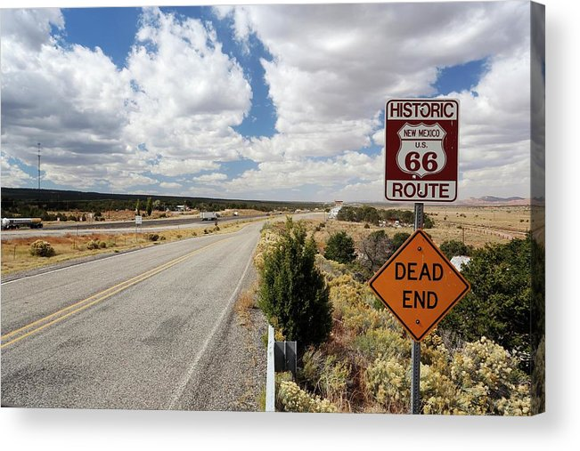 Nobody Acrylic Print featuring the photograph Route 66 Sign by Michael Szoenyi