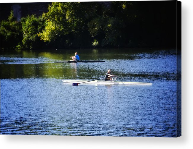 Rowing Acrylic Print featuring the photograph Rowing In Philadelphia by Bill Cannon