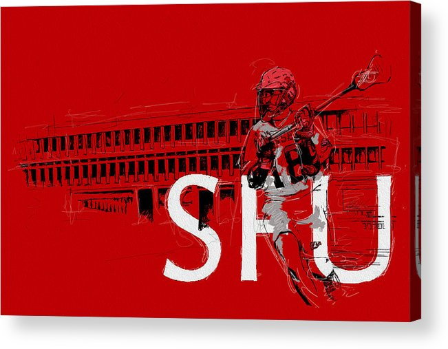 Sports Acrylic Print featuring the painting Sfu Art by Catf
