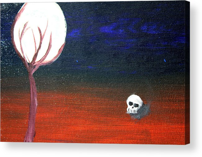 Skull Acrylic Print featuring the painting Speak No Evil by Laurette Escobar