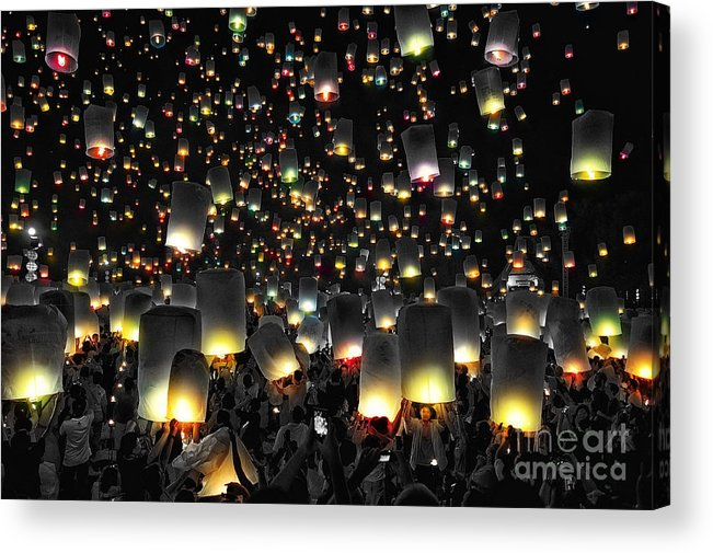 Activity Acrylic Print featuring the photograph The Floating Lanterns In Thailand. by Panupong Roopyai